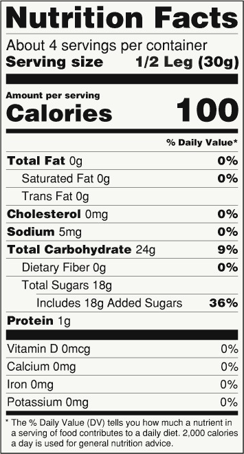 RICKY JOY Product -Crazy Legs - Nutrition facts